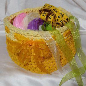 Storage Organizer Basket Hand Crocheted Tee Shirt